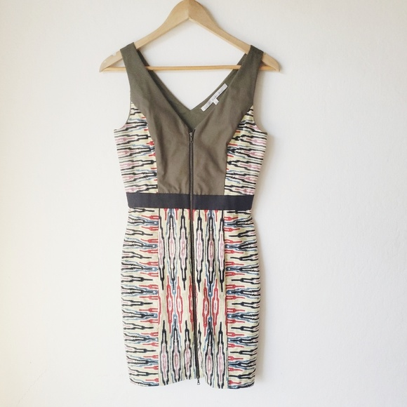 RACHEL Rachel Roy Dresses & Skirts - Rachel Roy Olive Green Tribal Zip Front Dress